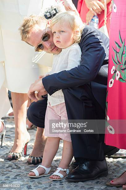 Andrea Casiraghi with his son Sasha Casiraghi attend the First Day of the 10th Anniversary on the Throne Celebrations on July 11 2015 in Monaco Monaco