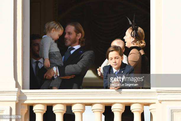 Andrea Casiraghi with Stefano Casiraghi and Beatrice Casiragi attend Monaco National Day Celebrations on November 19 2018 in MonteCarlo Monaco