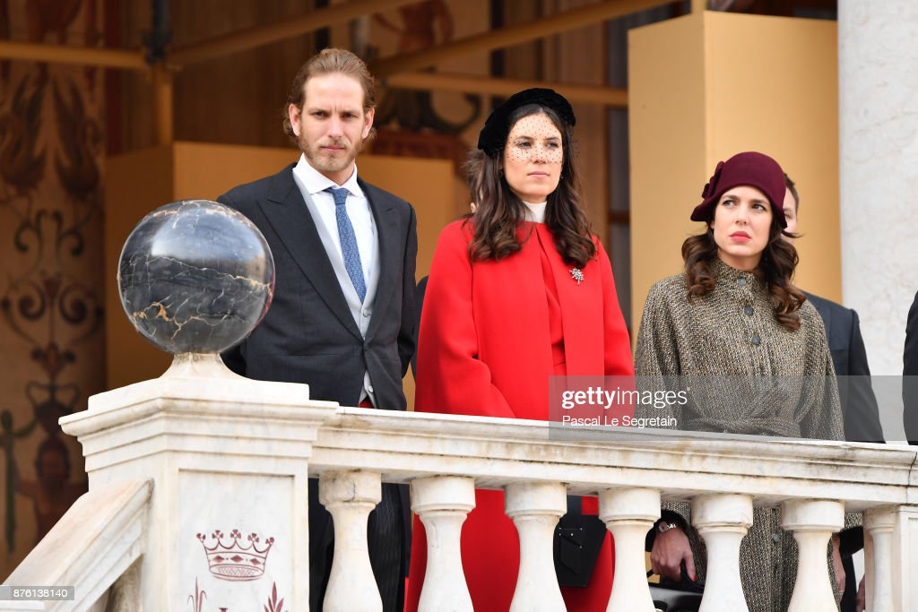 Andrea Casiraghi,Tatiana Casiraghi and Charlotte Casiraghi attend the Monaco National Day Celebrations in the Monaco Palace Courtyard on November 19, 2017 in Monaco, Monaco.