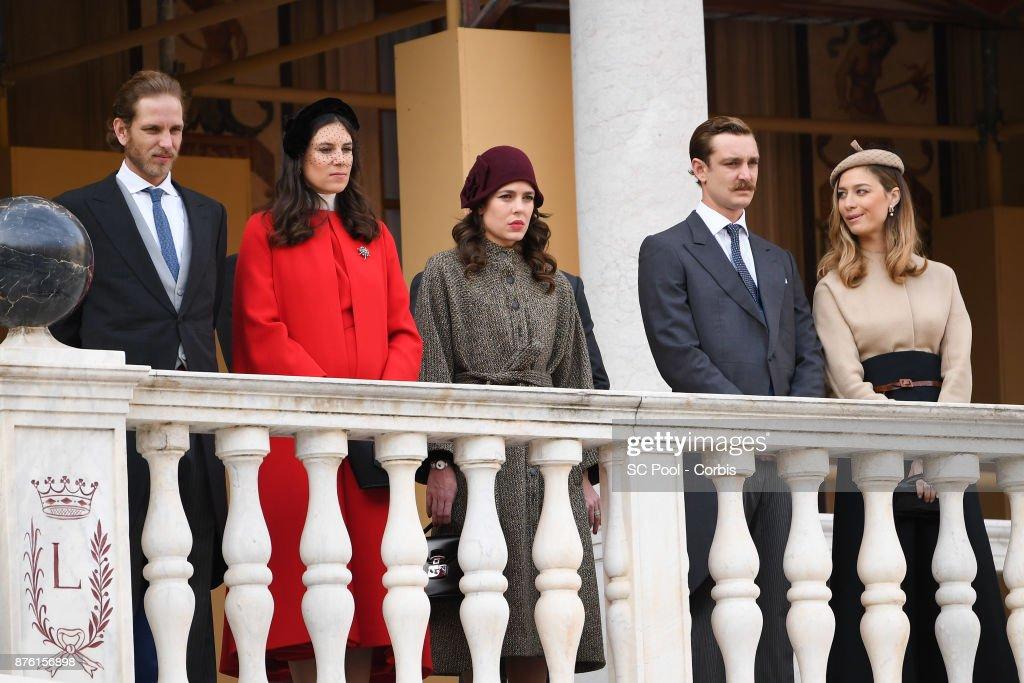 Andrea Casiraghi,Tatiana Santo Domingo, Charlotte Casiraghi, Pierre Casiraghi and Beatrice Borromeo attend the Monaco National day celebrations in Monaco Palace courtyard on November 19, 2017 in Monaco, Monaco.