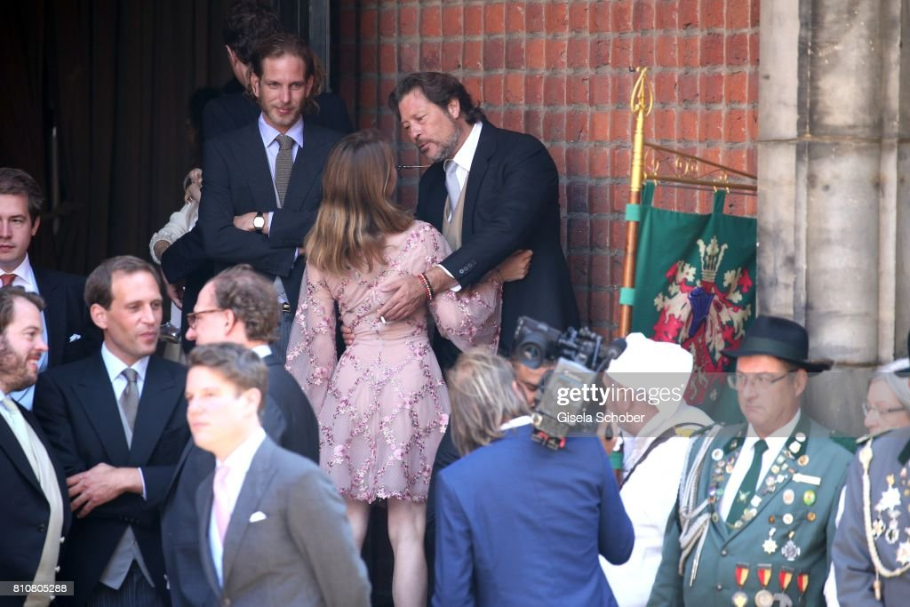 Andrea Casriraghi and his sister Princess Alexandra of Hanover during the wedding of Prince Ernst August of Hanover jr., Duke of Brunswick-Lueneburg, ( Erbprinz Ernst August von Hannover, Herzog von Braunschweig und Lueneburg ) and his fiancee Ekaterina Malysheva at Hanover Market Church on July 8, 2017 in Hanover, Germany.