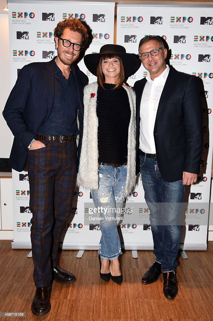 Andrea Castellari, Alessandra Amoroso and Raffaele Annecchino attend Press Conference for Milan, city of Expo2015, will host next year MTV EMA show on November 9, 2014 in Glasgow, Scotland.