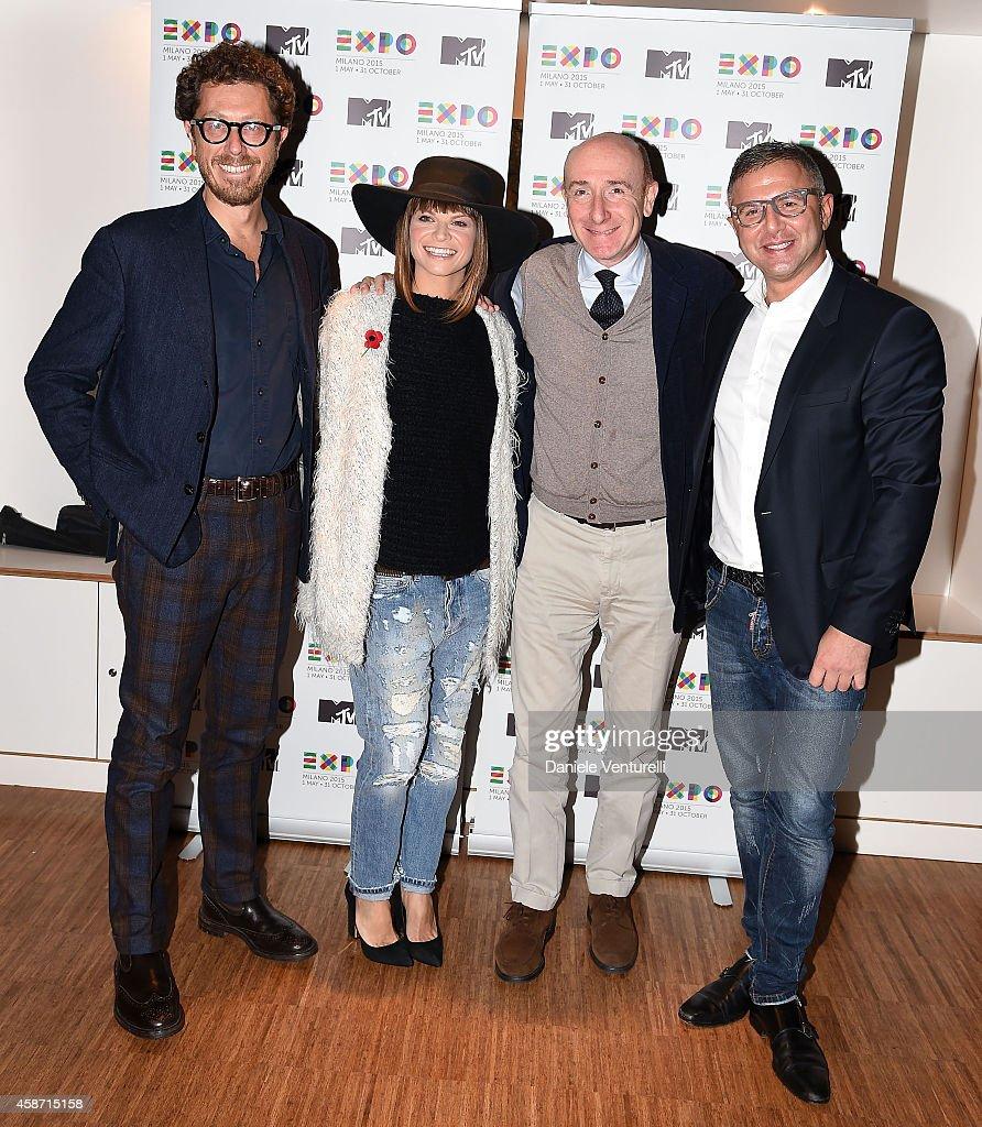 Andrea Castellari, Alessandra Amoroso, Roberto Arditti and Raffaele Annecchino attend Press Conference for Milan, city of Expo2015, will host next year MTV EMA show on November 9, 2014 in Glasgow, Scotland.