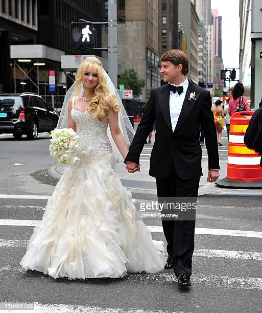 Andrea Catsimatidis and Christopher Nixon Cox arrive at The WaldorfAstoria for their wedding reception after being married on June 4 2011 in New York...