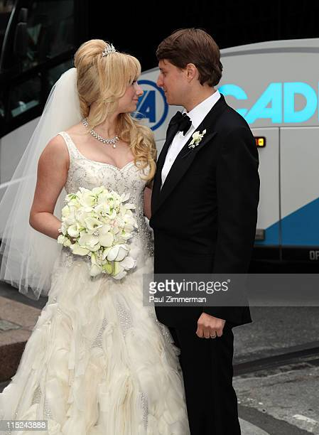 Andrea Catsimatidis and Christopher Nixon Cox arrive at their wedding reception at The WaldorfAstoria on June 4 2011 in New York City