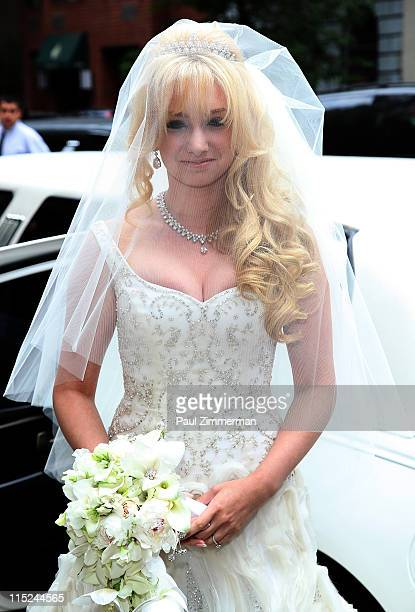 Andrea Catsimatidis attends her wedding to Christopher Nixon Cox at the Greek Orthodox Cathedral Of The Holy Trinity on June 4 2011 in New York City