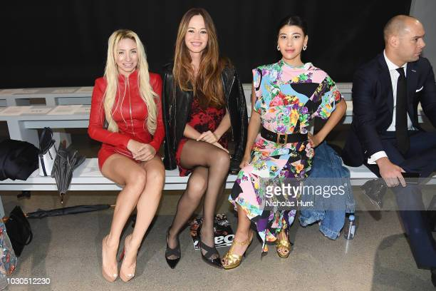 Andrea Catsimatidis Livia Figueiredo and Abla Sofy attend the Chocheng front row during New York Fashion Week The Shows at Gallery II at Spring...