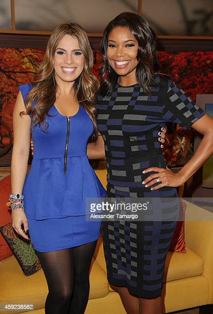 Andrea Chediak and Gabrielle Union make an appearance on the set of Univision's Despierta America to promote her new movie 'Top Five' at Univision...