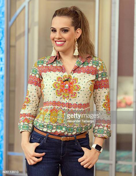 Andrea Chediak is seen on the set of Despierta America at Univision Studios on January 15 2016 in Miami Florida