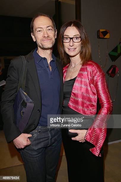 Andrea Ciccoli and Sara Ferrero attend #Valextra #MagneticoCocktail curated by Martino Gamper during Milan Design Week on April 16 2015 in Milan Italy