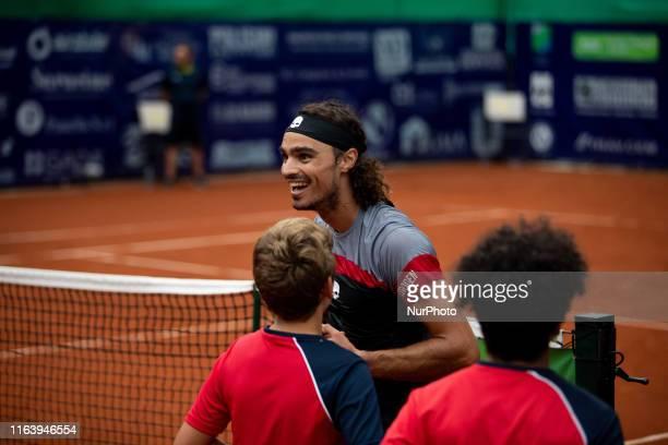 Andrea Collarini celebrates after winning the match during the final match between Andrea Collarini and Andrej Martin the Internazionali di Tennis...