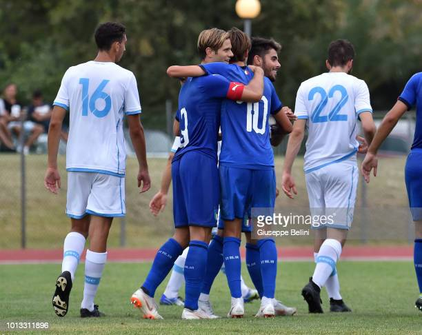 Andrea Colpan of Italy U20 celebrates after scoring goal 30 during the International Friendly match between Italy U20 and San Marino U20 on August 8...