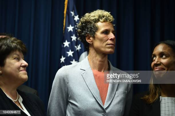 Andrea Constand attends a press conference on September 25 2018 in Norristown Pennsylvania after comedian Bill Cosby was sentenced to at least three...