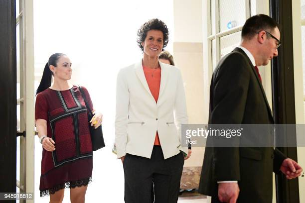 Andrea Constand center plaintiff in the Bill Cosby trial returns from lunch during the Bill Cosby sexual assault trial at the Montgomery County...