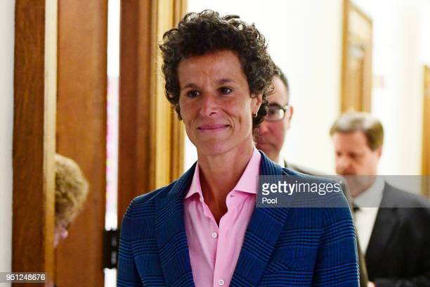 Andrea Constand main accuser in the Bill Cosby trial leaves courtroom A after testifying in the Bill Cosby sexual assault trial at the Montgomery...