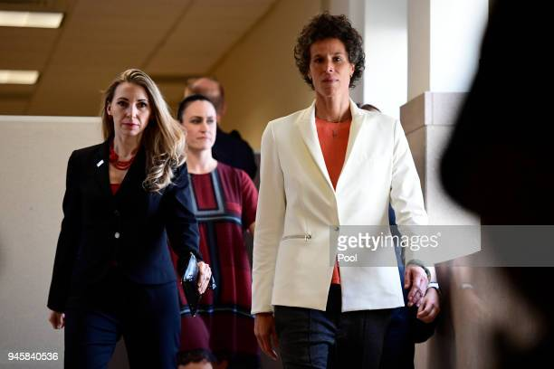 Andrea Constand plaintiff for the Bill Cosby trial arrives at the Montgomery County Courthouse for the fifth day of his sexual assault retrial on...