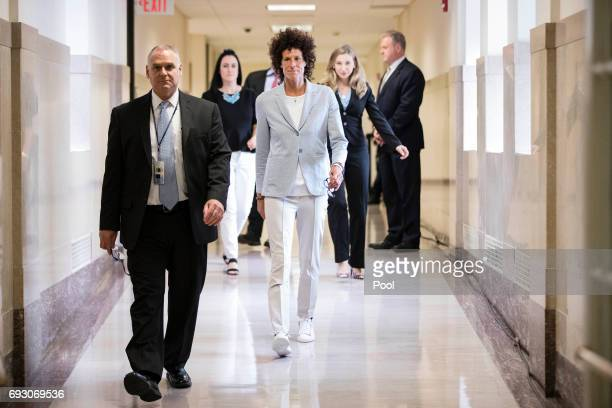 Andrea Constand walks to the courtroom for the trial of actor Bill Cosby on sexual assault charges at the Montgomery County Courthouse on June 6 2017...