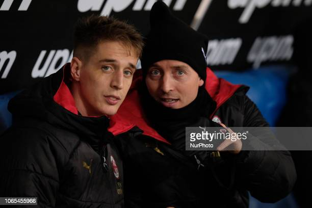 Andrea Conti of AC Milan and Riccardo Montolivo of AC Milan during the Italian Serie A 2018/2019 match between SS Lazio and AC Milan at Stadio...