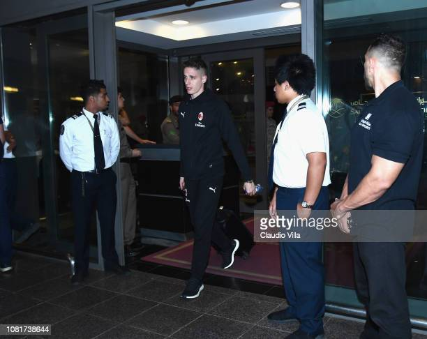 Andrea Conti of AC Milan arrives to Jeddah King Abdulaziz International Airport before the Italian Supercup between Juventus FC and AC Milan on...