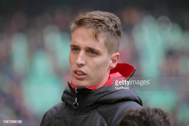 Andrea Conti of AC Milan before the serie A match between AC Milan and Parma Calcio 1913 at Stadio Giuseppe Meazza on December 02 2018 in Milan Italy