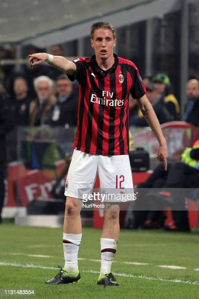 Andrea Conti of AC Milan during the serie A match between AC Milan and FC Internazionale Milano at Stadio Giuseppe Meazza on March 17 2019 in Milan...