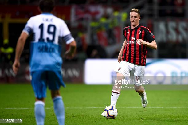 Andrea Conti of AC Milan in action during the Coppa Italia football match between AC Milan and SS Lazio SS Lazio won 10 over AC Milan