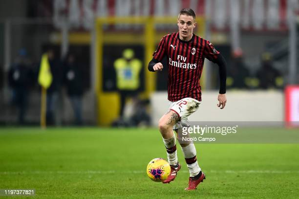 Andrea Conti of AC Milan in action during the Coppa Italia football match between AC Milan and Torino FC AC Milan won 42 over Torino FC after extra...