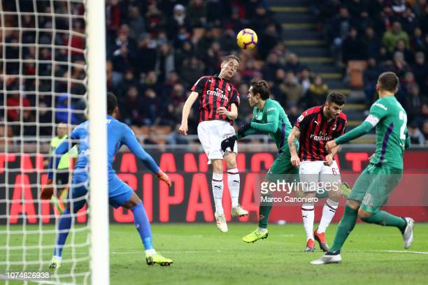 Andrea Conti of Ac Milan in action during the Serie A football match between AC Milan and Acf Fiorentina Acf Fiorentina wins 10 over Ac Milan