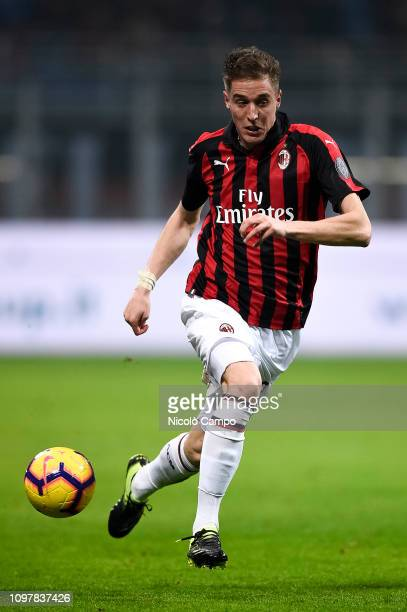 Andrea Conti of AC Milan in action during the Serie A football match between AC Milan and Cagliari Calcio AC Milan won 30 over Cagliari Calcio