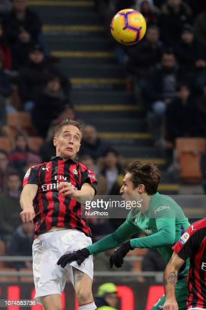 Andrea Conti of AC Milan in action during the serie A match between AC Milan and ACF Fiorentina at Stadio Giuseppe Meazza on December 22 2018 in...