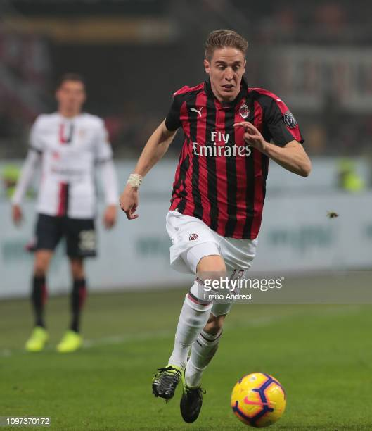 Andrea Conti of AC Milan in action during the Serie A match between AC Milan and Cagliari at Stadio Giuseppe Meazza on February 10 2019 in Milan Italy