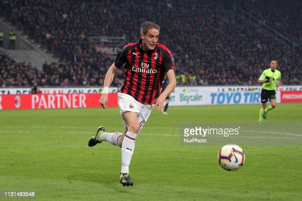 Andrea Conti of AC Milan in action during the serie A match between AC Milan and FC Internazionale Milano at Stadio Giuseppe Meazza on March 17 2019...