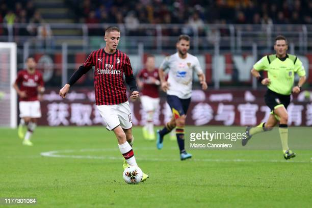 Andrea Conti of Ac Milan in action during the Serie A match between Ac Milan and Us Lecce The match ends in a draw 2 2