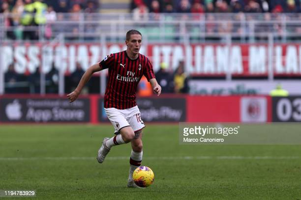 Andrea Conti of Ac Milan in action during the Serie A match between Ac Milan and Udinese Calcio Ac Milan wins 32 over Udinese Calcio