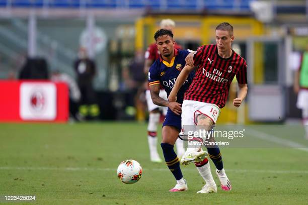Andrea Conti of Ac Milan in action during the Serie A match between Ac Milan and As Roma Ac Milan wins 20 over As Roma
