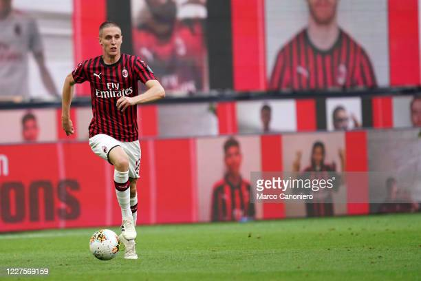 Andrea Conti of Ac Milan in action during the Serie A match between Ac Milan and Parma Calcio Ac Milan wins 31 over Parma Calcio