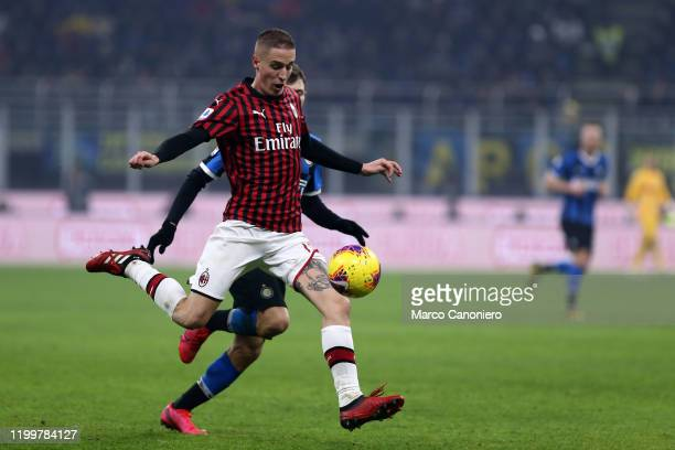 Andrea Conti of Ac Milan in action during the the Serie A match between Fc Internazionale and Ac Milan Fc Internazionale wins 42 over Ac Milan