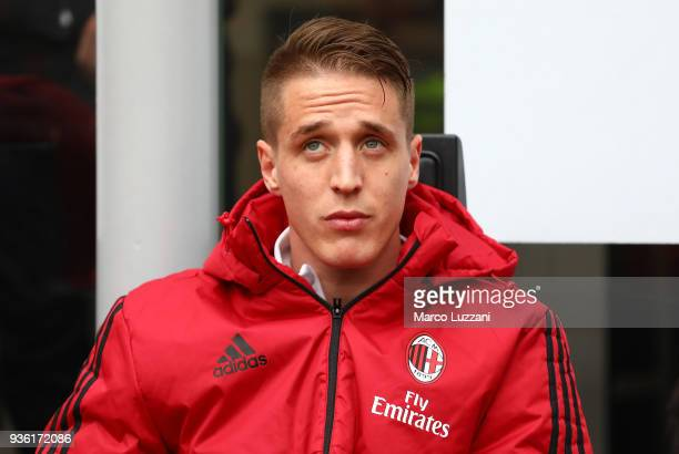Andrea Conti of AC Milan looks on before the serie A match between AC Milan and AC Chievo Verona at Stadio Giuseppe Meazza on March 18 2018 in Milan...
