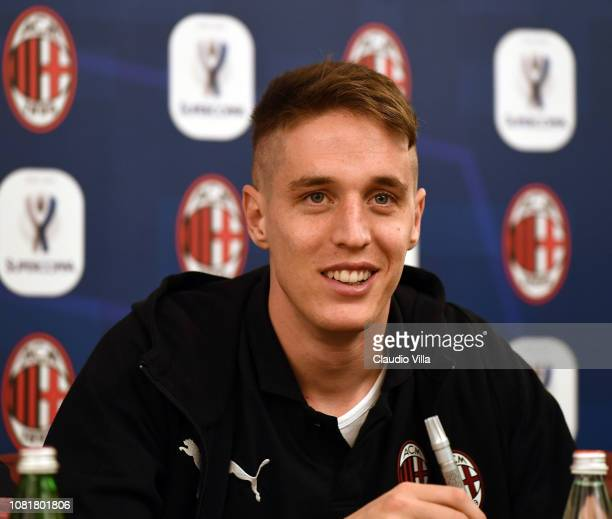 Andrea Conti of AC Milan looks on during AC Milan Sponsor and Greet Events on January 13 2019 in Jeddah Saudi Arabia