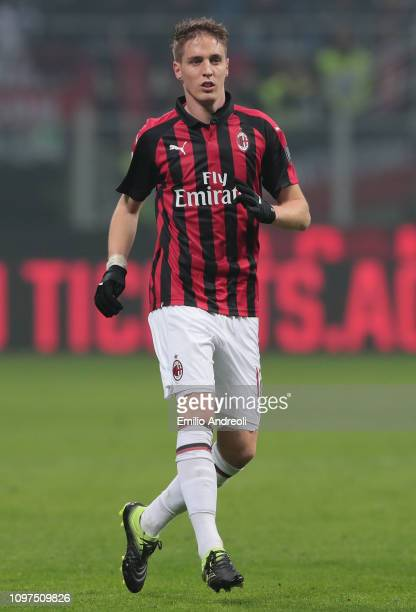 Andrea Conti of AC Milan looks on during the Serie A match between AC Milan and Cagliari at Stadio Giuseppe Meazza on February 10 2019 in Milan Italy