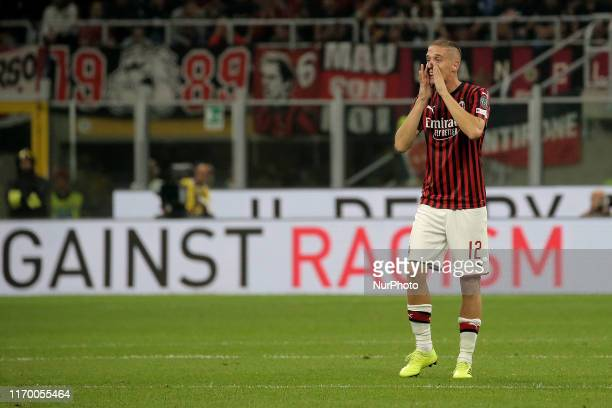 Andrea Conti of AC Milan looks on during the Serie A match between AC Milan and FC Internazionale at Stadio Giuseppe Meazza on September 21 2019 in...
