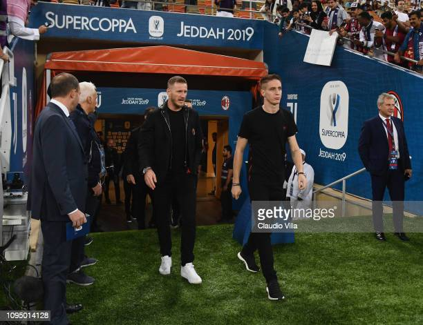 Andrea Conti of AC Milan walks on pitch prior to the Italian Supercup match between Juventus and AC Milan at King Abdullah Sports City on January 16...
