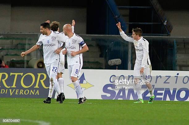 Andrea Conti of Atalanta BC celebrates after scoring his opening goal during the Serie A match between Hellas Verona FC and Atalanta BC at Stadio...