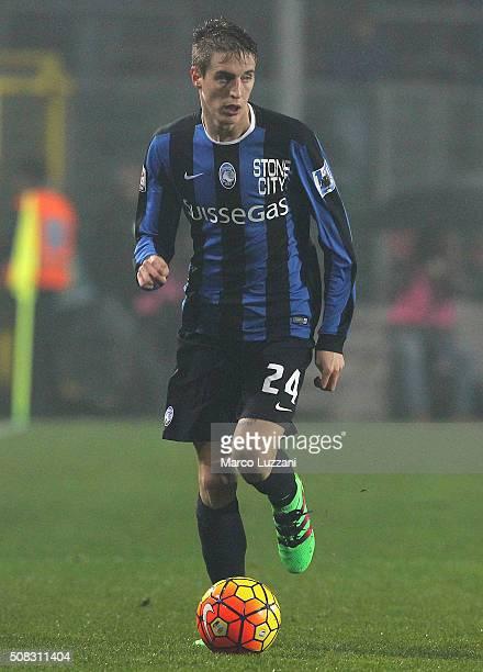 Andrea Conti of Atalanta BC in action during the Serie A match between Atalanta BC and US Sassuolo Calcio at Stadio Atleti Azzurri d'Italia on...