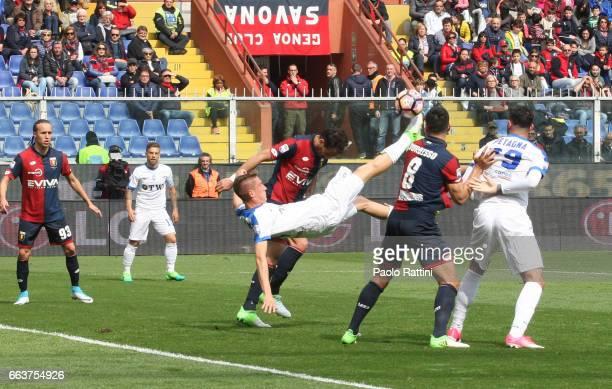 Andrea Conti of Atalanta scores a goal during the Serie A match between Genoa CFC and Atalanta BC at Stadio Luigi Ferraris on April 2 2017 in Genoa...