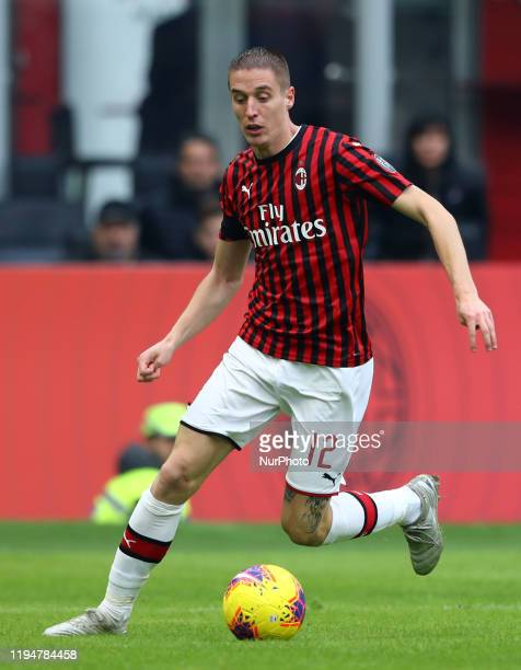 Andrea Conti of Milan during the Serie A match Ac Milan v Udinese Calcio at the San Siro Stadium in Milan Italy on January 19 2020