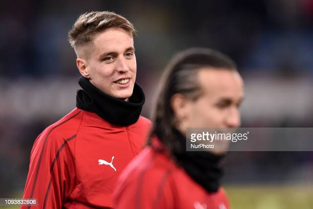Andrea Conti of Milan during the Serie A match between Roma and AC Milan at Stadio Olimpico Rome Italy on 3 February 2019