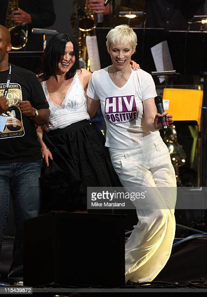Andrea Corr and Annie Lennox attends the 46664 Concert part of Nelson Mandela 90th birthday celebrations on June 27 2008 at Hyde Park in London