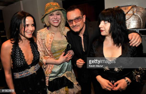 NEW YORK OCTOBER 04 Andrea Corr Courtney Love Bono and Lydia Lunch backstage at Carnegie Hall during the NIGHTS Concert celebrating the music of...
