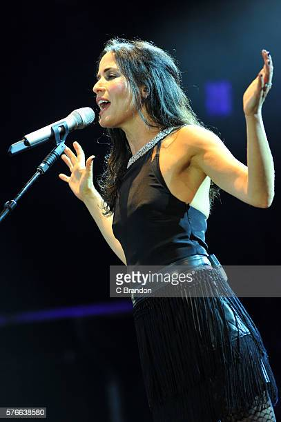 Andrea Corr of The Corrs performs on stage during Kew The Music at Kew Gardens on July 16 2016 in London England